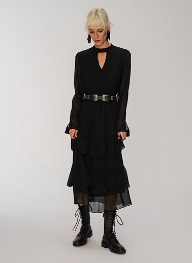 People By Fabrika Yaka Detaylı Fırfırlı Elbise Siyah
